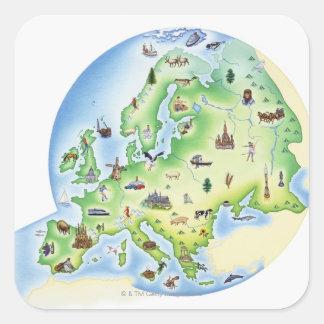 Mapa de Europa con los ejemplos de famoso Calcomania Cuadradas Personalizada