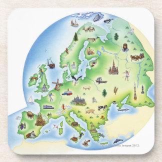 Mapa de Europa con los ejemplos de famoso Posavasos De Bebidas