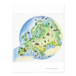 Mapa de Europa con los ejemplos de famoso Postales