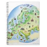Mapa de Europa con los ejemplos de famoso Spiral Notebook