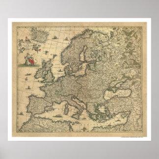 Mapa de Europa de Frederico de Wit 1700 Póster