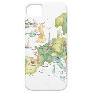 Mapa de Europa de la acuarela - caso de Iphone iPhone 5 Cobertura
