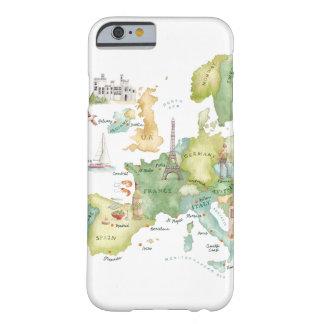 Mapa de Europa de la acuarela - caso del iPhone 6 Funda Para iPhone 6 Barely There