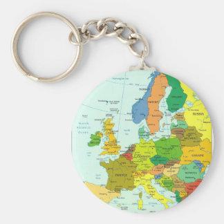 Mapa de Europa Llavero Redondo Tipo Pin