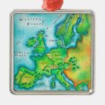 Mapa de Europa occidental Adorno Cuadrado Plateado