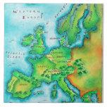 Mapa de Europa occidental Azulejo Cuadrado Grande