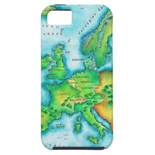 Mapa de Europa occidental iPhone 5 Funda