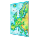 Mapa de Europa occidental Impresión En Lona Estirada
