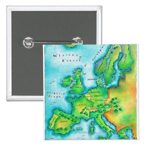 Mapa de Europa occidental Pin