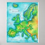 Mapa de Europa occidental Póster