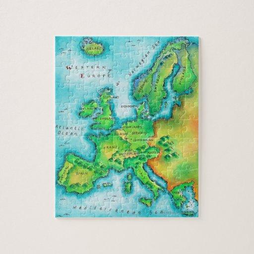 Mapa de Europa occidental Rompecabeza