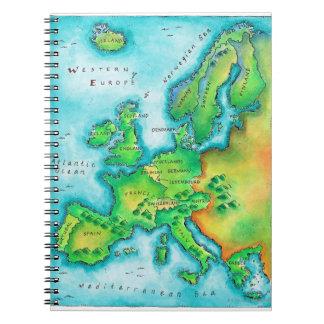Mapa de Europa occidental Spiral Notebook