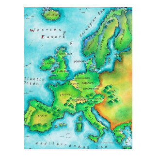 Mapa de Europa occidental Tarjeta Postal