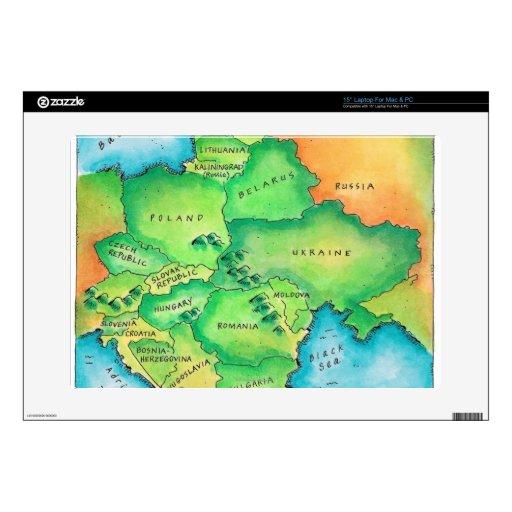 Mapa de Europa Oriental Calcomanías Para Portátiles