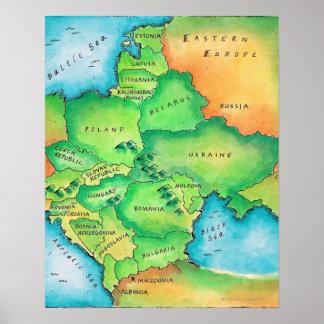 Mapa de Europa Oriental Poster