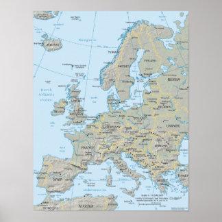 Mapa de Europa Poster