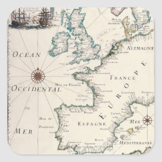 Mapa de Europa Pegatina Cuadrada