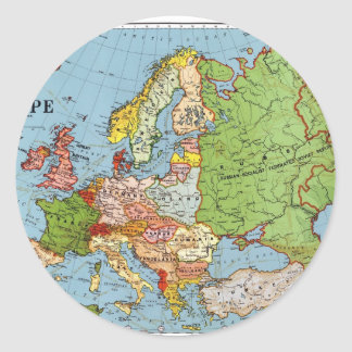 Mapa de Europa Pegatina Redonda
