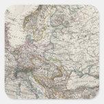 Mapa de Europa por Stieler Pegatina Cuadrada
