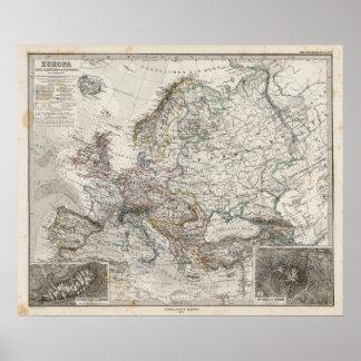Mapa de Europa por Stieler Póster