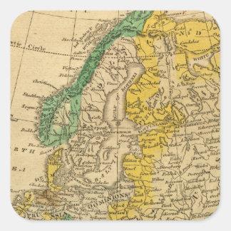 Mapa de Europa por Worcester Pegatina Cuadrada
