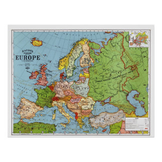 Mapa de Europa Póster