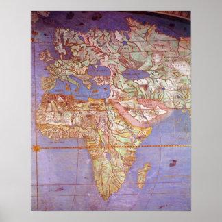 Mapa de Europa y de África Poster