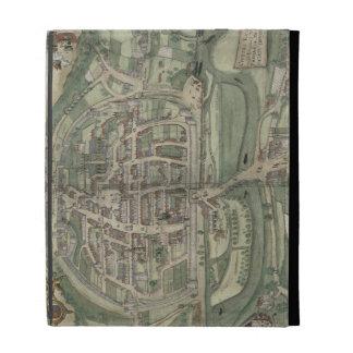 """Mapa de Exeter, de """"Civitates Orbis Terrarum"""" cerc"""