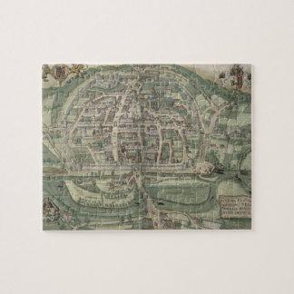 """Mapa de Exeter, de """"Civitates Orbis Terrarum"""" cerc Rompecabezas"""