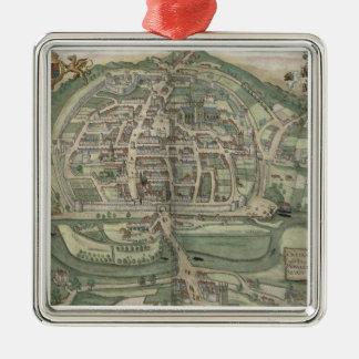 "Mapa de Exeter, de ""Civitates Orbis Terrarum"" Adorno Cuadrado Plateado"