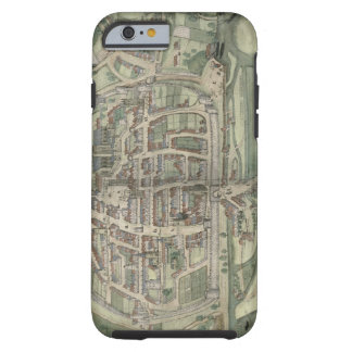"Mapa de Exeter, de ""Civitates Orbis Terrarum"" Funda De iPhone 6 Tough"