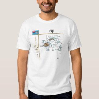 Mapa de Fiji + Bandera + Camiseta del título Polera