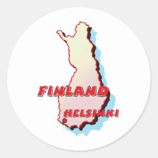 Mapa de Finlandia Etiqueta Redonda