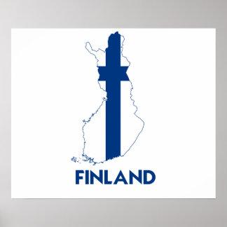 MAPA DE FINLANDIA PÓSTER