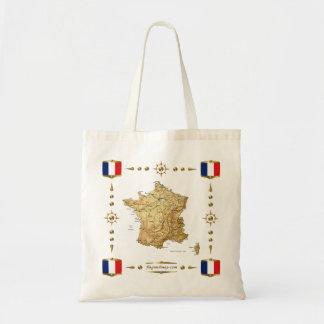 Mapa de Francia + Bolso de las banderas Bolsa Tela Barata