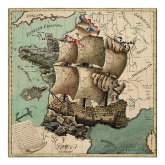 Mapa de Francia como nave (1796) Poster
