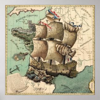 Mapa de Francia como nave (1796) Póster