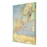 Mapa de Francia, de España y de África del noroest Impresión En Lona Estirada