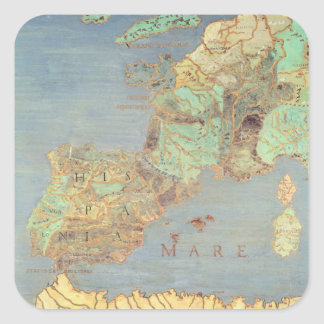 Mapa de Francia, de España y de África del Calcomanías Cuadradass Personalizadas