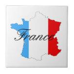 Mapa de Francia en blanco y azul rojos Azulejos