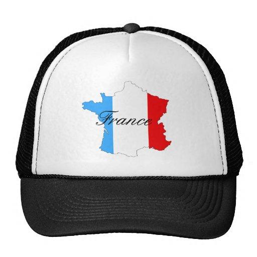 Mapa de Francia en blanco y azul rojos Gorros