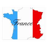Mapa de Francia en blanco y azul rojos Postal