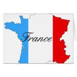 Mapa de Francia en blanco y azul rojos Felicitacion