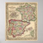 Mapa de Francia, España, Portugal de Mitchell Póster