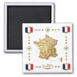 Mapa de Francia + Imán de las banderas