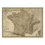 Mapa de Francia Póster