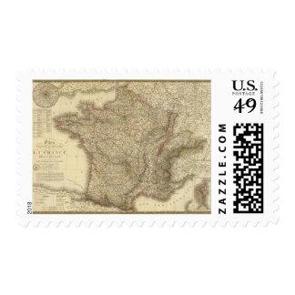 Mapa de Francia Timbres Postales