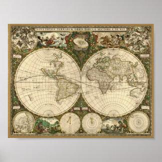 Mapa de Frederick de Wit 1660 del mundo Posters