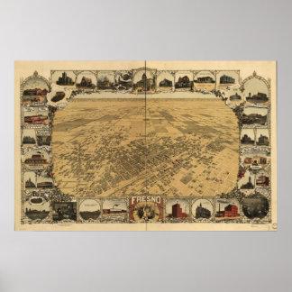 Mapa de Fresno Pájaro-Ojo View 1901 Posters