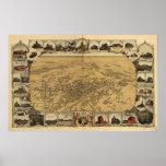 Mapa de Fresno, Pájaro-Ojo View, 1901 Póster